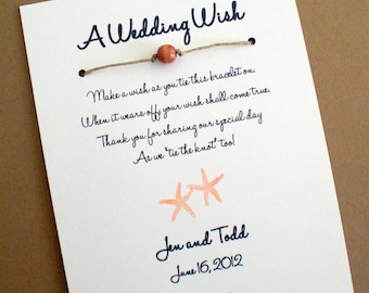 Starfish Wish - A Wedding Wish with Starfish Holding Hands - Wish Bracelet Wedding Favor Custom Made for You