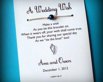 Beach Wedding - A Wedding Wish with a Conch Shell - Wish Bracelet Wedding Favor Custom Made for You
