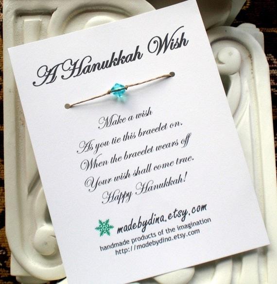 A Hanukkah Wish Bracelet Card or Party Favor