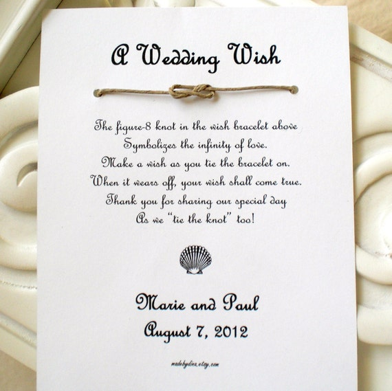 Seaside Wedding - A Wedding Wish with a Seashell - Infinity Knot Wish Bracelet Wedding Favor Custom Made for You