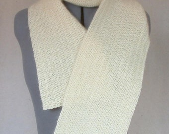 Lightweight Cream Wool-Mohair Scarf