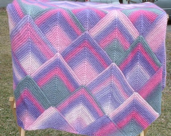 Giant Pink and Purple Wool Afghan