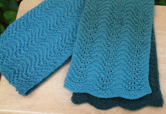Kauni Shaded Blue-Green Feather and Fan Scarf