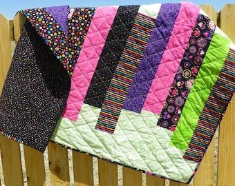 Colorful Throw Quilt, Lap Quilt, Toddler Quilt, Quilt