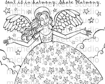 Digital Stamp Image Angel Wings Inspirational Harmony Cardmaking Scrapbooking Stamping