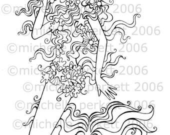 Digital Stamp Image Mermaid Pretty Girly Ocean Fins Cardmaking Scrapbooking