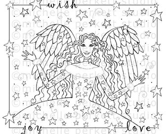 Digital Stamp Image Star Angel Wings Inspirational Christmas Winter Scrapbooking Cardmaking