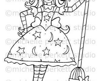 Digital Stamp Witch Halloween Broomstick Cardmaking Scrapbooking