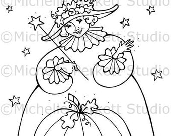 Digital stamp image Halloween Cinderella Fairy Godmother Wand Pumpkin Cardmaking Scrapbooking