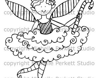 Digital Stamp Image Christmas Fairy Peppermint Candy Canes wings Stamping Cardmaking Scrapbooking