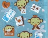 Kawaii Monkey Cards Sticker Sheet
