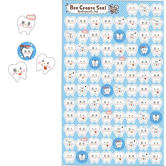 San-X Be Creative Teeth Sticker Sheet SALE