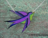 purple and lime green Tattoo Songbird necklace