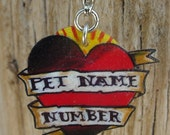 custom vintage tattoo heart and banner pet dog cat id tag (name and number)