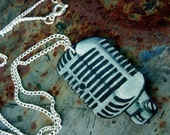 classic vintage microphone  necklace tattoo rockabilly style
