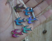 birds of a feather... flock together... mini vintage tattoo style sparrow necklace with silver plated chain