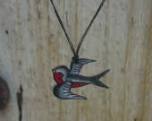 Cute black, white and red tattoo songbird wish string necklace