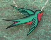 Teal Seafoam Green and hot pink Tattoo Songbird necklace