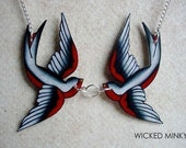 NEW black white and red kissing tattoo sparrow necklace