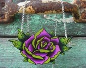 unique large tattoo inspired rose necklace lime green and purple summer silver plated chain