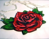 Big vintage tattoo style red and pink rose necklace with silver plated chain