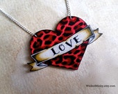 tattoo heart necklace custom customizable banner bright blood red and hot pink leopard