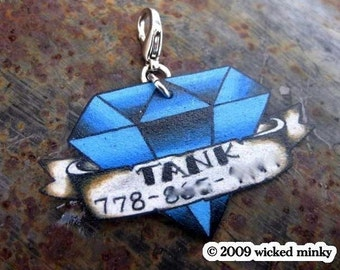 custom tattoo diamond pet tag with banner (for cat, dog, bag, necklace)