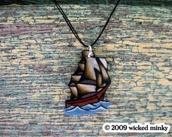 Petite wish string nautical pirate ship necklace tattoo jewelry by WickedMinky