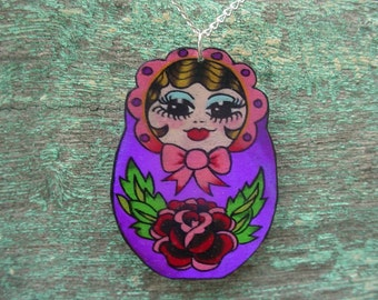 Matryoshka russian stacking doll necklace tattoo inspired in purple and pink with silver plated chain