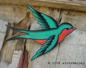 Teal Seafoam Green and hot pink Tattoo Songbird hair clip