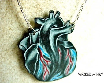 tattoo inspired balck and white anatomical human heart necklace
