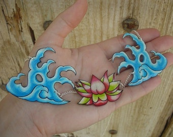HUGE traditional japanese tattoo waves and pink and green lotus flower necklace
