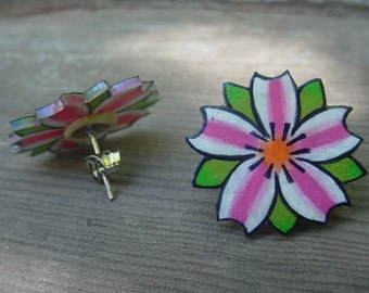 cherry blossom tattoo earrings (silver plated stud posts)  hot bright pink and white