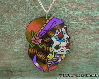 vintage tattoo gypsy day of the dead calavera (dia de los muertos) sugar skull necklace