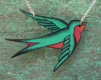 Teal Seafoam Green and hot pink Tattoo Songbird necklace with silver plated chain