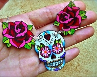 sugar skull and rose tattoo necklace day of the dead (dia de los muertos calavera)