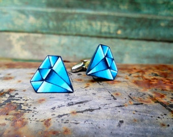 Vintage Tattoo Diamond Mens Cufflinks (bright blue september sapphire gem birthstone)