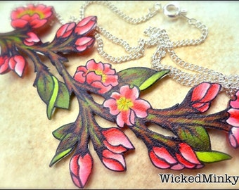 Bright Hot Pink Cherry Blossom Flower and buds Branch Leaves Spring Summer NEW Bridesmaid Gifts Wedding Mothers Jewelry Plum Blossom