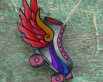 roller dreby skate with hot pink wings necklace tattoo insipired