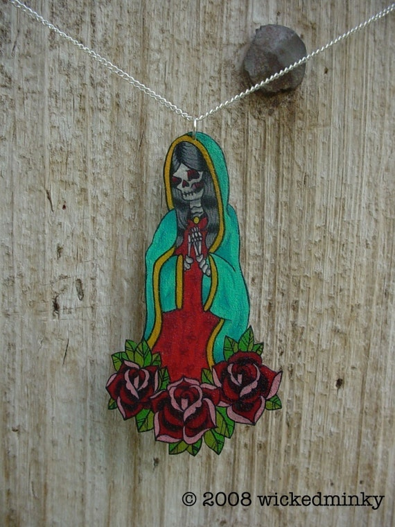 tattoo style guadalupe de los muertos with vintage roses necklace