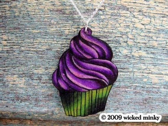 tattoo zombie cupcake necklace lime green bright purple
