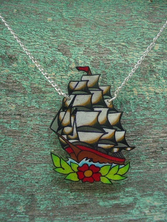 vintage tattoo sailor jerry inspired pirate ship necklace
