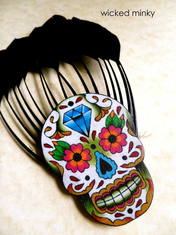 hand painted tattoo style day of the dead sugar skull with diamond, flowers and filigree feather hair fascinator