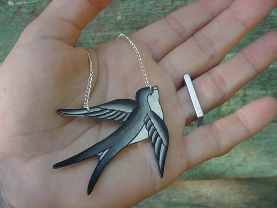 black, grey and white Tattoo Songbird necklace