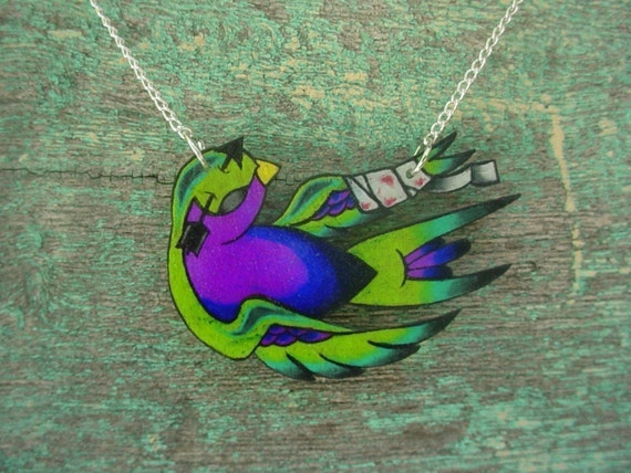 fallen zombie new school tattoo swallow necklace (lime green, teal and purple)
