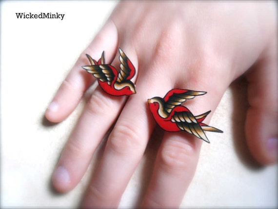NEW black tan and red kissing tattoo sparrow statement  ring