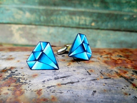vintage tattoo diamond mens cufflinks bright blue september. Black Bedroom Furniture Sets. Home Design Ideas