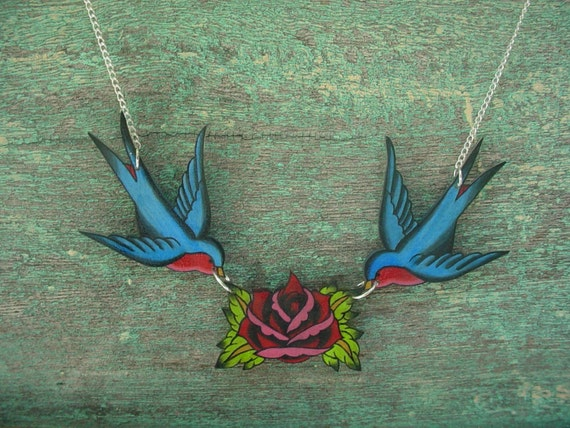 vintage red rose and blue swallow necklace