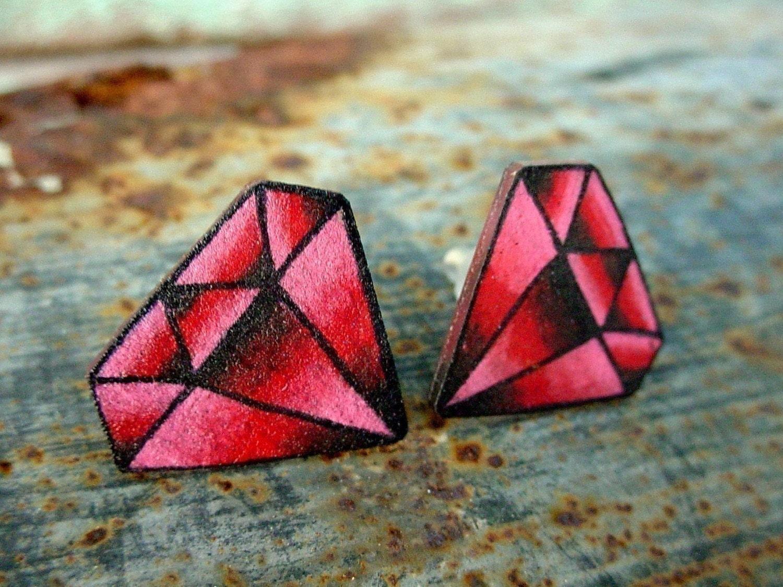 Vintage Tattoo Style Ruby Garnet Earrings Studs Posts