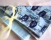 Sweet Soft Single Layer Wipes - Sea Turtles\/Checks SET OF 6